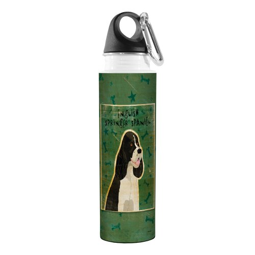 Tree-Free Greetings VB47997 John W. Golden Artful Traveler Stainless Steel Water Bottle, 18-Ounce, Black and White English Springer