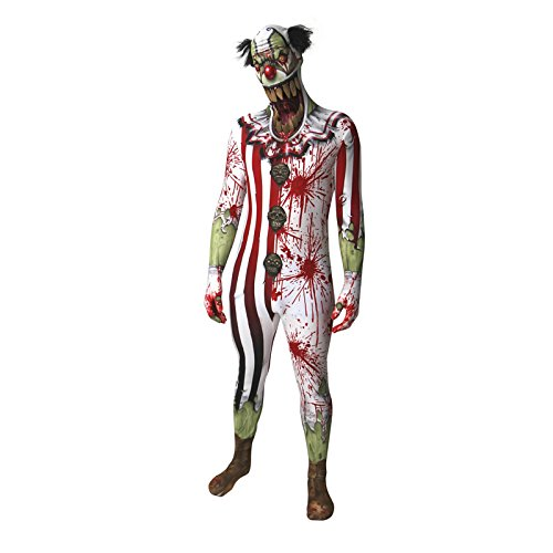Clown Jaw Dropper Verrücktes Kleid Kostüm, L, 165 - 180 cm (Halloween Clown Morphsuit)