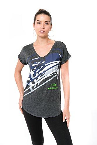 ICER Brands Damen T-Shirt NFL V-Ausschnitt Soft Modal Tee Shirt Team Color, Damen, Jersey T-Shirt Mesh Varsity Stripe Tee Shirt, Team Color, grau, Large (Nfl Patriots Frauen Jersey)