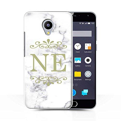 Stuff4® Personalisiert Weiß Marmor Mode Hülle für Meizu M2 Note/Gerahmt Gold Marke Design/Initiale/Name/Text Schutzhülle/Case/Etui