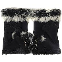 Bluelans® Fashion Women's Faux Fur Leather Hand Wrist Warmer Winter Fingerless Gloves Mittens