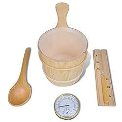 Daonanba 5 Pcs Practical Sauna Accessories Solid Wood Bucket Spoon Hourglass Hygrometer