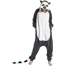 Hstyle Unisex Adulto Onesie Anime Kigurumi Trajes Disfraz Cosplay Animales Pijamas Pyjamas Ropa De Dormir Lemur M