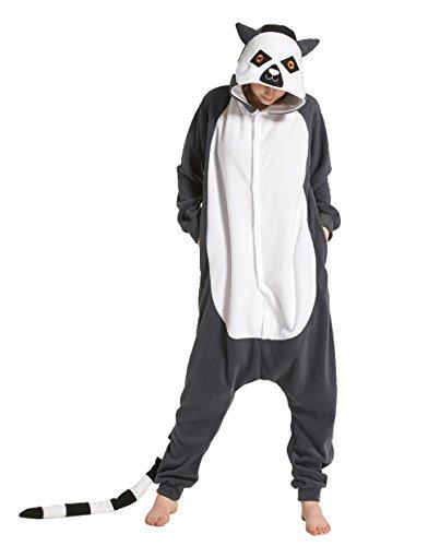 Hstyle Unisex Erwachsene Onesie Anime Kostüm Kigurumi Cosplay Tier Schlafanzug Hoodie Nachtwäsche Pyjamas Lemur S