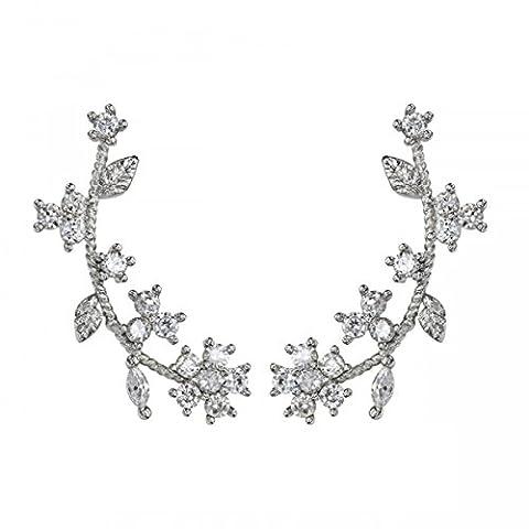 OKAJEWELRY Ear Climber 925 Sterling Silver Post Cubic Zircon Flower Cuff Earring - Women Ladies Stud Earrings