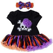 Blusas de Halloween,BBestseller Vestido de Manga Corta de Calavera de bebé niña Imprime Camisa