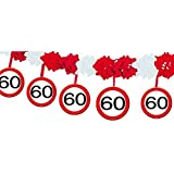bb10 Schmuck 60.Geburtstag Deko Papiergirlande mit Zahl 60 Girlande mit 12 Verkehrsschilder und 4m lang Dekoration zum 60er Geburtstag Party oder andere Anlässe
