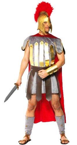 erdbeerloft - Herren Gladiatoren römischer Krieger Kostüm- Tunika Arm- Beinstulpen Rock Schwert Kopfbedeckung , silber, (Film Gladiator Kostüm)