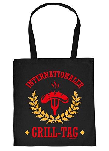 Stofftasche mit Grill Motiv - Internationaler Grill-Tag. Grillwurst, Gabel - Einkaufstasche,...