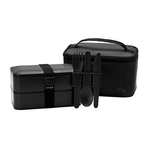 Koïgo Original Bento Lunch Box Noir, Set de 3 Couverts, Sac Isotherme et E-book avec 25 Recettes de Cuisine I Boîte Repas avec 2 Compartiments Hermétiques I sans BPA I Convient au Micro-ondes et Lave-vaisselle I Idéal pour vos Déjeuners au Bureau, à l'Ecole ou en Pique-Nique I Pour Homme, Femme, Adulte I Koï Box