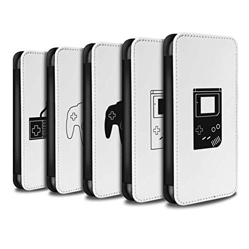 Stuff4 Coque/Etui/Housse Cuir PU Case/Cover pour Apple iPhone 8 Plus / Xbox 360 Noir Design / Manette Jeux Vidéo Collection Pack 20pcs