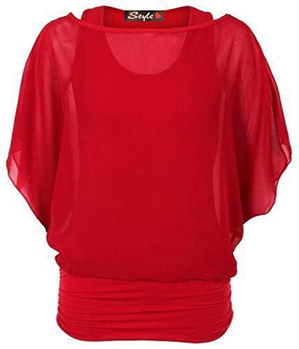 Flirty Wardrobe sur 2 en 1 Taille en mousseline de soie à manches longues chauve-souris pour femme Taille UK :  8–26 Rouge - Rouge