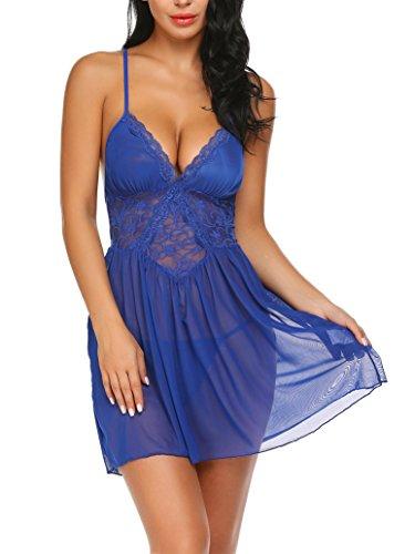 Damen Reizwäsche Spitze Negligee Nachtwäsche V-Ausschnitt Babydoll Lingerie Kleid Transparent Nachthemd Sexy Dessous Set Rückenfrei Nachtkleid Sleepwear