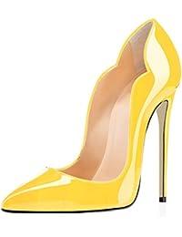 EDEFS Chic Escarpins Femme Talon Haut Aiguille Bout Pointu D'orsay Chaussures de Mariee Ceremonie - Patent - T.35