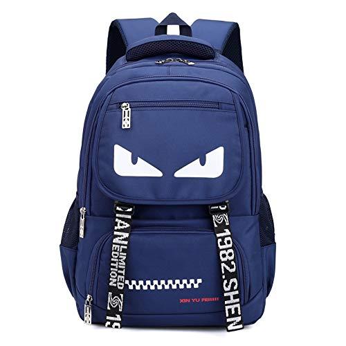 YZBB Koreanische Version des Trends der Campus wilde Tasche große Kapazität Rucksack, männliche und weibliche High-School-Schüler Taschen, Grundschule Junior High School Schultertasche, Monster (blau)