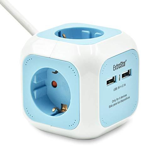 Extrastar PowerCube (Extended USB 1.5 m) Regleta de 4 Salidas, con 2 para Carga de USB 5V (Azul)