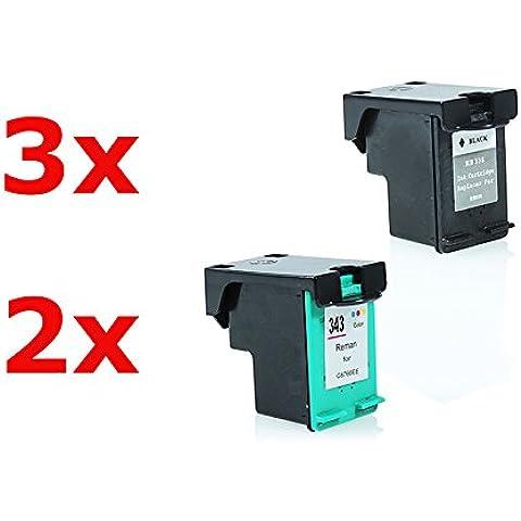 Compatible para HP OfficeJet K 7100 Series Cartucho de Tinta Multipack C8765EE Nr 338 & Nr 343 CMYK 3 x 17 & 2 x 22 ml