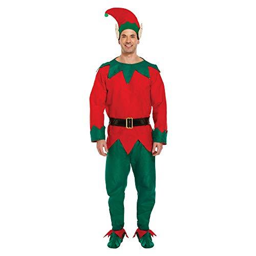Christmas Shop - Costume da Elfo di Natale - Uomo (S/L) (Verde/Rosso)