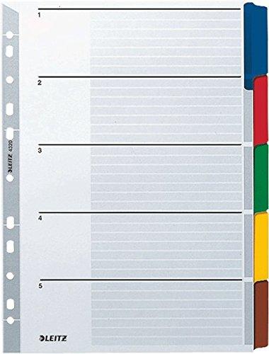 LEITZ Kartonregister Blanko 160 g/qm/4320-00, grau, 5-teilig, A4/B225xH297mm