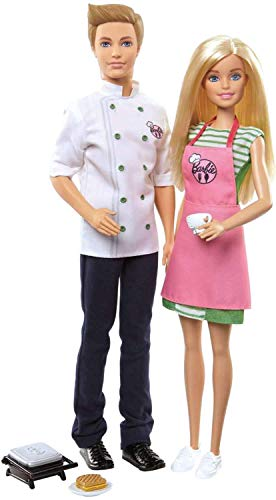 Barbie doll and Ken doll are ready to serve up fun in this café-themed two-pack The two 12-inch dolls wear professional outfits Comes with a panini Maker, sandwich on a plate and a coffee cup Includes a chef's coat for Ken doll and an apron for Barbi...