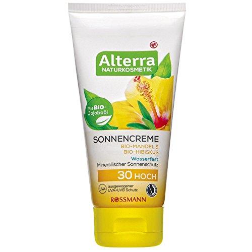 Alterra Sonnencreme 75 ml LSF 30, mit Bio-Jojoba, Bio-Mandel & Bio-Hibiskus, mineralischer Sonnenschutz, wasserfest, ausgewogener UVA+UVB Schutz, vegan, zertifizierte Naturkosmetik