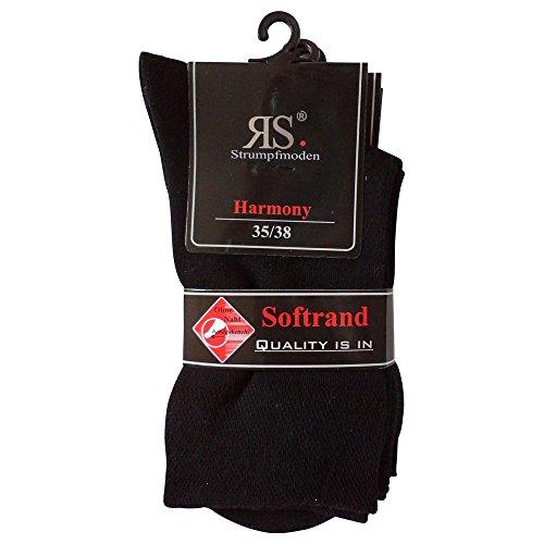6 Paar Socken Pia Harmony RS Baumwolle ohne Naht (35-38, Schwarz)