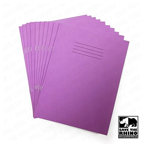School Exercise Books Alternating Paged Project Books - Blank and 15mm Lined Pages - 32 Page - Purple Covers - Rhino Branded [Pack of 25]