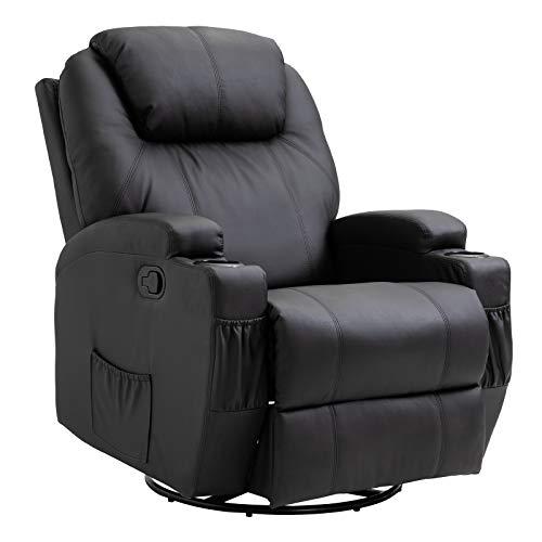 HOMCOM Massagesessel Relaxsessel mit Wärmefunktion Fernsehsessel Sessel Schwarz