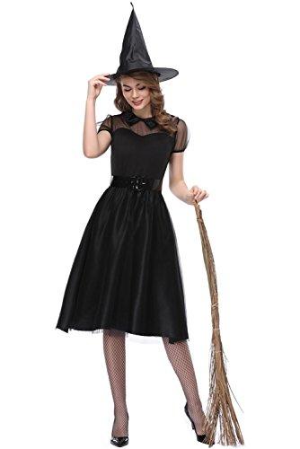 üm Krähen Hexe Halloween Horror Damen Hexenkostüm (Krähe Kostüm Mädchen)