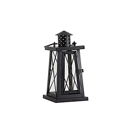 KMYX Vintage Iron Candle Lantern Wedding Candelabrum Outdoor Windproof Landing Lights Garden Zubehör Decoration Candle Stand Hurricane Lampen (Color : Black, Größe : S)