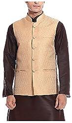 Tag 7 Threads Mens Silk Ethnic Jacket (JJ138, Gold, 42)