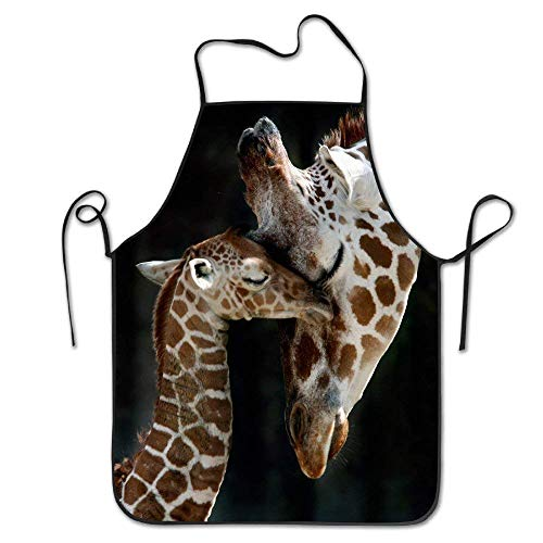 gkfgkfk Giraffe Mother's Love Adjustable Apron for Grilling Bacon Lady's Men's Great Gift for Wife Ladies Men Boyfriend -