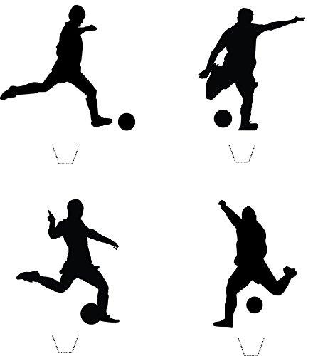 12 x Neuheit Fußball Silhouette mischen essbaren aufstehen Wafer Papier kuchen deckel (Fußball-silhouette)