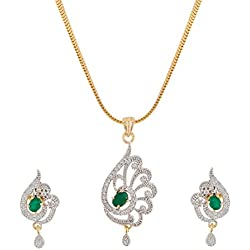 R K FASHION ACCESSORIES Manikya Gold Plated Brass American Diamond Studded Pendant Set for Women