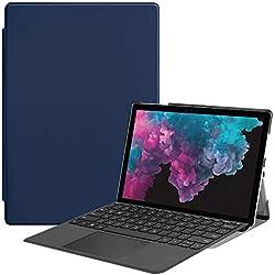 BasicStock Coque Microsoft Surface Pro 4 5 6, Anti-Choc avec Fonction Stand [Fermeture Magnétique] Portefeuille Etui Housse pour Microsoft Surface Pro 4 5 6 (Bleu foncé)