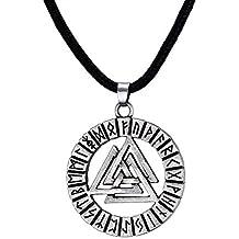 Vnox Collar pendiente nórdico del vikingo del nudo de Hrungnir de la runa de Valknot del acero inoxidable de los hombres, cadena libre