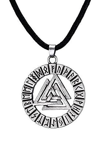 Vnox Männer Edelstahl Zinn Valknot Nordic Rune Hrungnir Knoten Viking Anhänger Halskette,Freie Kette