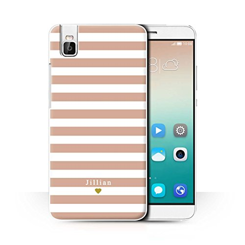 Stuff4® Personalisiert Individuell Streifen/Gestreift Hülle für Huawei Honor 7i/ShotX/Nacktes Rosa Herz Design/Initiale/Name/Text Schutzhülle/Case/Etui