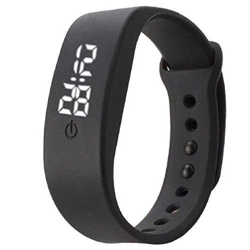 Preisvergleich Produktbild OverDose Damen Herren Gummi LED Uhr Datum Sports Armband Digital Armbanduhr (Schwarz)