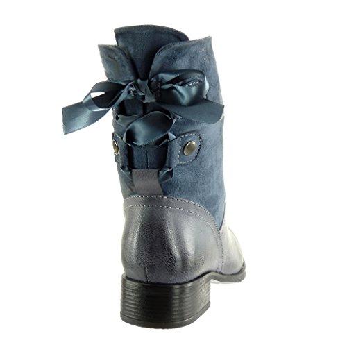 Angkorly Scarpe da Moda Stivaletti - Scarponcini Cavalier Flessibile bi-Materiale Donna Lacci in Raso Borchiati Tacco a Blocco Tacco Alto 3.5 cm - Soletta Foderato di Pelliccia Blu