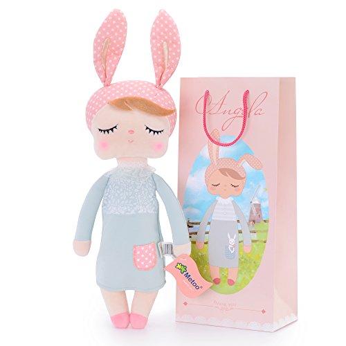 Metoo Gefüllte Hase Plüsch Kaninchen Puppen - Angela Baby Schlafen Puppe Graues Kleid mit Geschenktüte (12 Zoll) - Mädchen Geschenke Spielzeug von