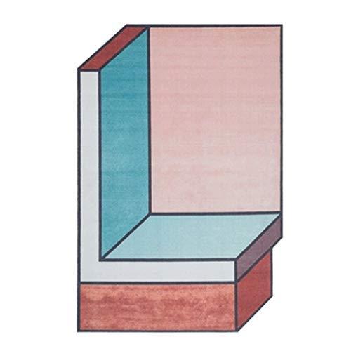 SCJS Handgefertigte Teppiche Teppich Wohnzimmer Teppich Schlafzimmer Verdicken Teppich Unregelmäßige Geometrische Teppichfläche Teppich Teppich Ziegel Startseite Geschenk (Farbe: Rosa, Größe: 140 - Ziegel Farbe Teppiche
