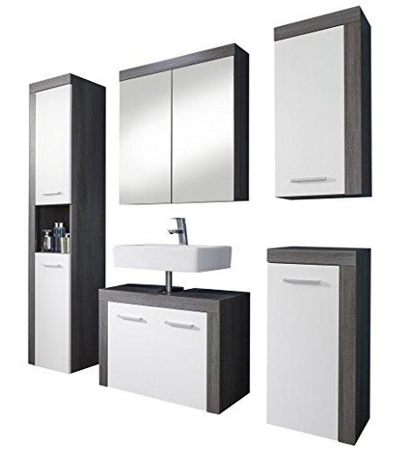 Trendteam Badezimmer 5-Teilige Set, Holzwerkstoff, weiß, 175 x 184 x 34 cm