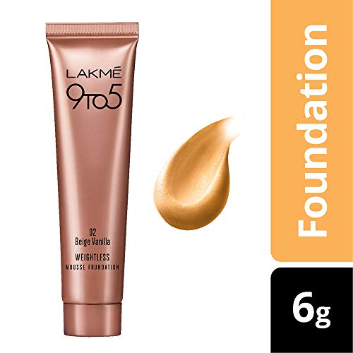 Lakme 9 to 5 Weightless Mousse Foundation, Beige Vanilla, 6g