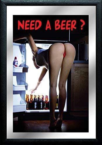 Need a Beer Kühlschrank Pin Up Girl Nostalgie Barspiegel Spiegel Bar Mirror 22 x 32 cm -