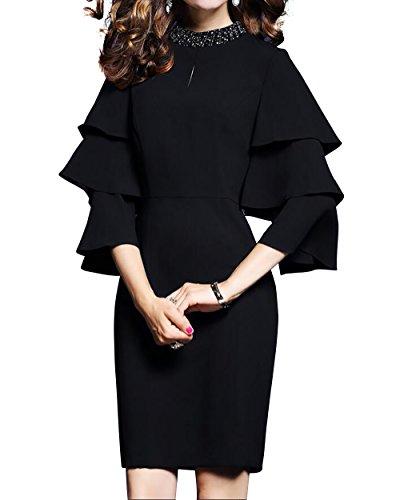 LAI MENG Damen Vintage Glocke Ärmel Premium Abendkleid Elegant Verzierung am Ausschnitt Trompetenärmel Wickelkleid Cocktailkleid Schwarz