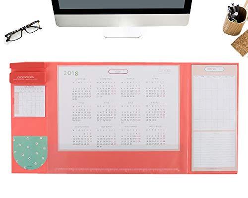 Preisvergleich Produktbild Multifunktionale Schreibtischunterlage,  25, 6 '' x 12, 6 '' Wasserdichte Schreibtisch-Mausunterlage-Matte mit Kalender 2018-2019,  Telefon-Halter,  Taschen und Planer-Karten (Pink)