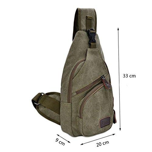 Zeafin Hernn Sport Wandern Freizeit Camping Outdoor Rucksäcke Segeltuch Kleine Taschen Armee-Grün