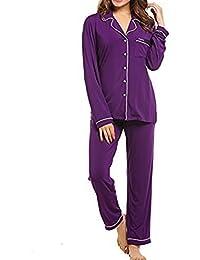 Meaneor Mujer Ropa de Dormir Cuello Redondo Satén 2 Piezas Pijama Conjunto