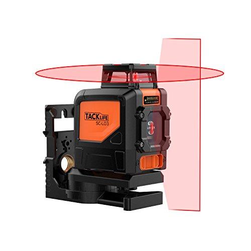 Nivel láser autonivelante, Tacklife SC L03 Nivelador Gran angular de 360° Horizontal y 130° Vertical, Alcance de 30M de linea inclinación, autonivelación con Soporte magnético giratorio